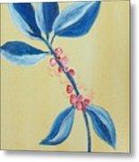 Blue Leaves And Berries Metal Print