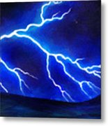 Blue Lightning Above The Ocean Metal Print