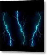 Blue Lightning Metal Print