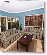Blue Living Room Metal Print