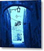 Blue Maltese Arch Metal Print