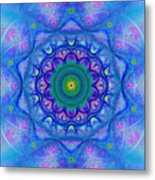 Blue Mandala For Heart Chakra Metal Print