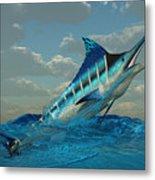 Blue Marlin Burst Metal Print