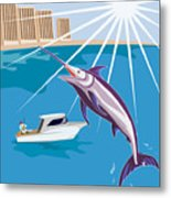 Blue Marlin Jumping Metal Print by Aloysius Patrimonio