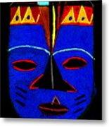 Blue Mask Metal Print by Angela L Walker