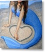 Blue Mermaid's Heart Metal Print by Sue Halstenberg