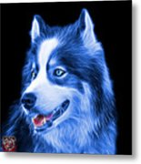 Blue Modern Siberian Husky Dog Art - 6024 - Bb Metal Print