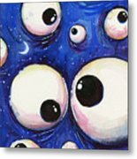 Blue Monster Eyes Metal Print
