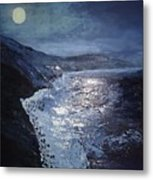 Blue Moon Over Big Sur Metal Print
