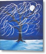 Blue Moon Willow In The Wind Metal Print