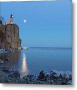 Blue Moonrise At Split Rock Lighthouse Metal Print