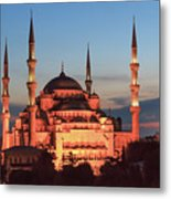 Blue Mosque At Dusk Metal Print