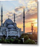 Blue Mosque At Sunset Metal Print
