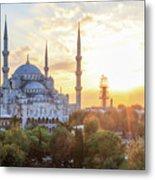 Blue Mosque Sunset Metal Print