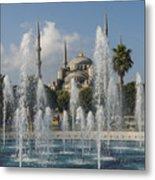Blue Mosque Through The Fountain Metal Print