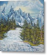 Blue Mountain Torrent Metal Print