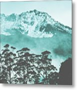 Blue Mountain Winter Landscape Metal Print