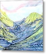 Blue Mountains Alcohol Inks  Metal Print