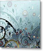 Blue Mystery Forest Of Flowers And Tendrils Metal Print