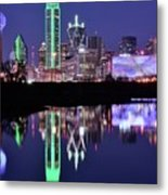 Blue Night And Reflections In Dallas Metal Print