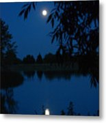 Blue Night Moon And Reflection Metal Print