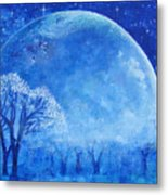 Blue Night Moon Metal Print by Ashleigh Dyan Bayer