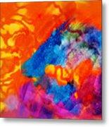 Blue On Orange Metal Print
