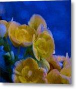 Yellow On Blue Metal Print