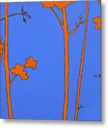 Blue Orange Tree Metal Print