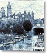 Blue Ottawa Skyline - Water Color Metal Print