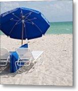Blue Paradise Umbrella Metal Print