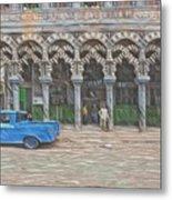 Blue Pickup In Cuba Metal Print