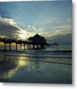 Blue Pier 60 Sunset Metal Print