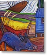 Blue Pig By Blue Hut Metal Print