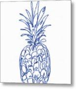 Blue Pineapple- Art by Linda Woods Metal Print