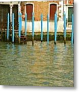 Blue Poles In Venice Metal Print