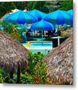 Blue Pool Umbrellas Metal Print