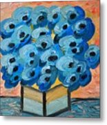 Blue Poppies In Square Vase  Metal Print