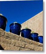 Blue Pottery On Wall Metal Print