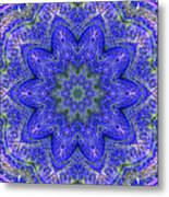 Blue Purple Lavender Floral Kaleidoscope Wall Art Print Metal Print