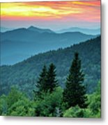 Blue Ridge Parkway Nc Landscape - Fire In The Mountains Metal Print