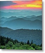 Blue Ridge Parkway Sunset - The Great Blue Yonder Metal Print