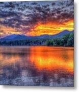 Blue Ridges Lake Junaluska Sunset Great Smoky Mountains Art Metal Print
