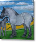Blue Roan Mare With Her Colt Metal Print