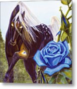 Blue Rose Unicorn Metal Print