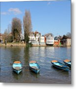 Blue Rowing Boats On The Thames At Hampton Court London Metal Print