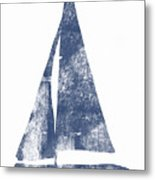 Blue Sail Boat- Art By Linda Woods Metal Print