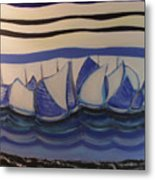 Blue Sailing Boats In The Harbour Metal Print