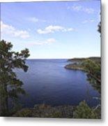 Blue Sea And Pine Trees Metal Print