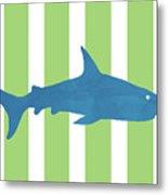 Blue Shark 2- Art By Linda Woods Metal Print
